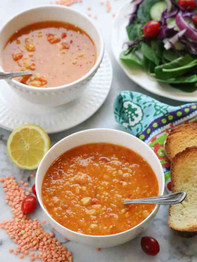 Mediterranean-Style Red Lentil and Chickpea Soup (Vegan)(Instant Pot Option)