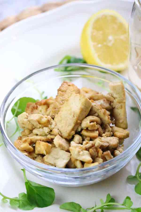 Extra Firm Tofu sautéed in Braggs Liquid Aminos and Yeast Flakes Sauce