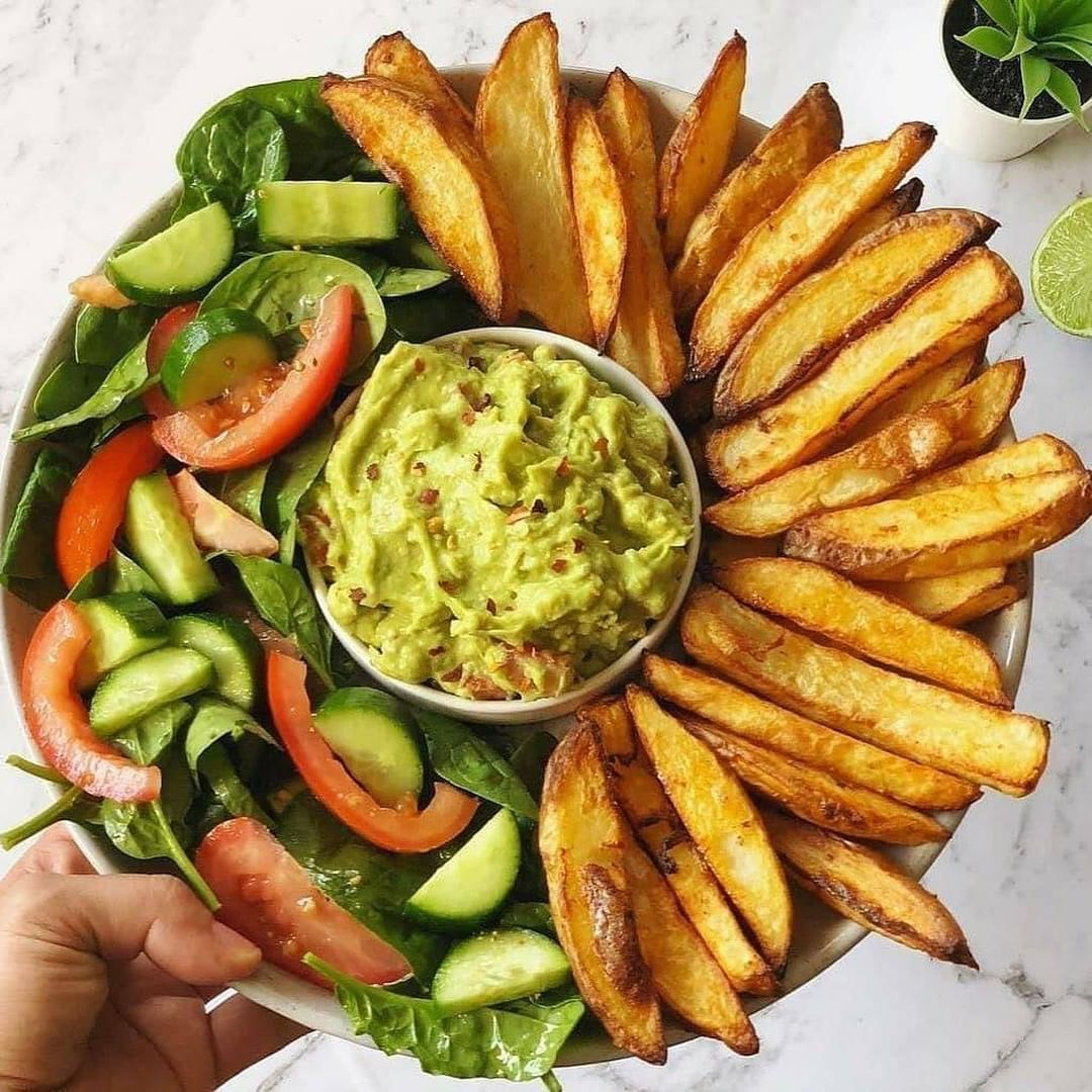 oven baked crispy fries and guacamole by veganbyeden  r display image  a63834c3