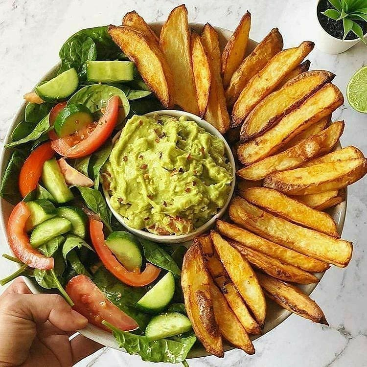 oven baked crispy fries and guacamole by veganbyeden display image  20933e0c