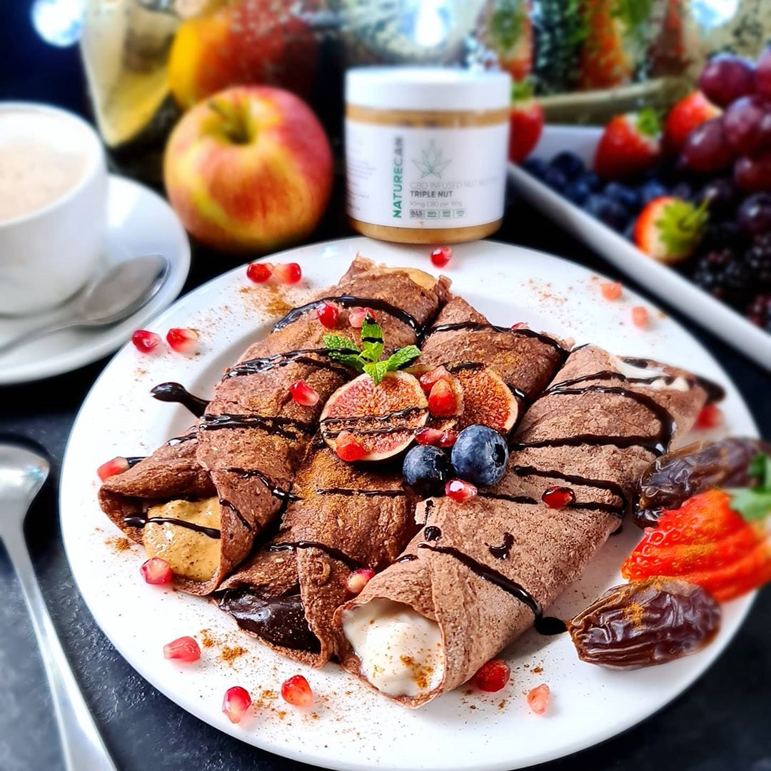 chocolate crpes filled with cbd triple nut peanut butter display image  b762254d