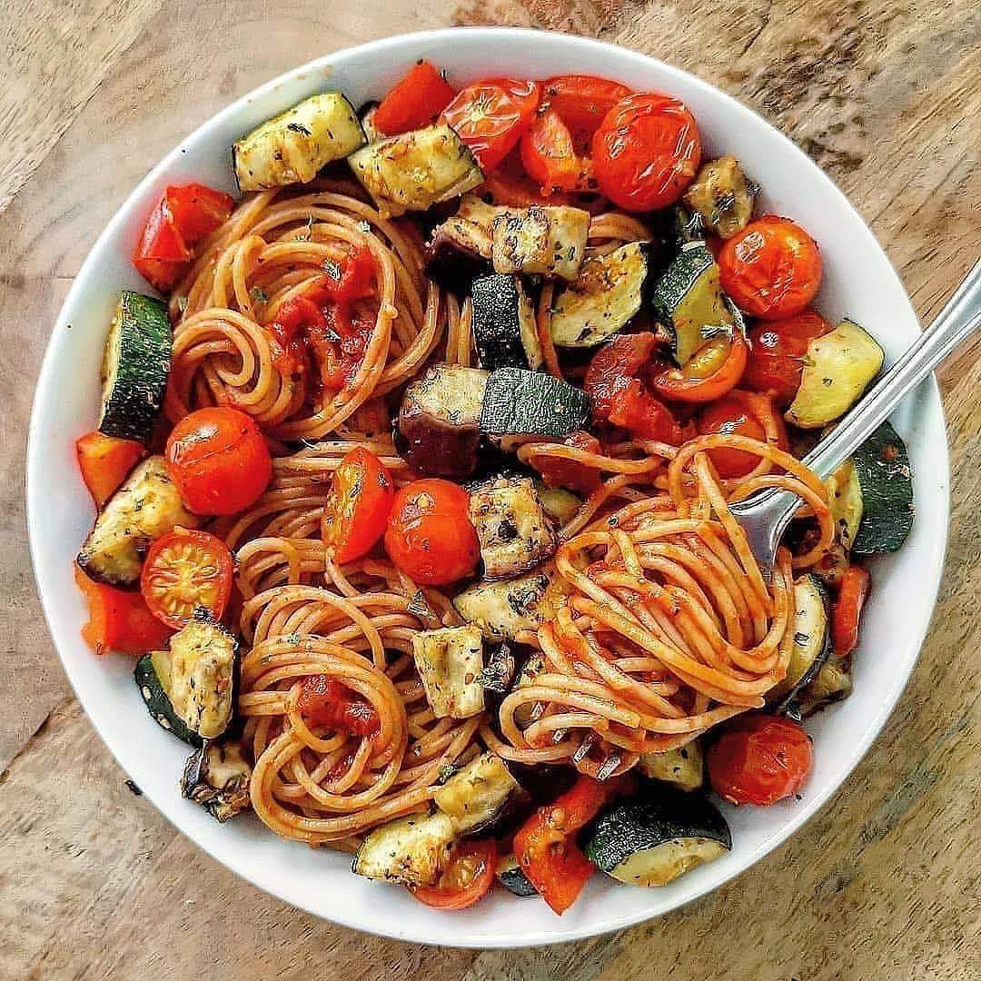 roasted vegetable pasta with zucchini eggplants red bell p display image  d315d66b
