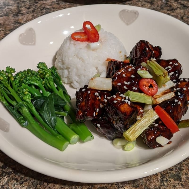 tonights post workout meal was a spicy glazed tofu served w multip img 0 bacbb8e1