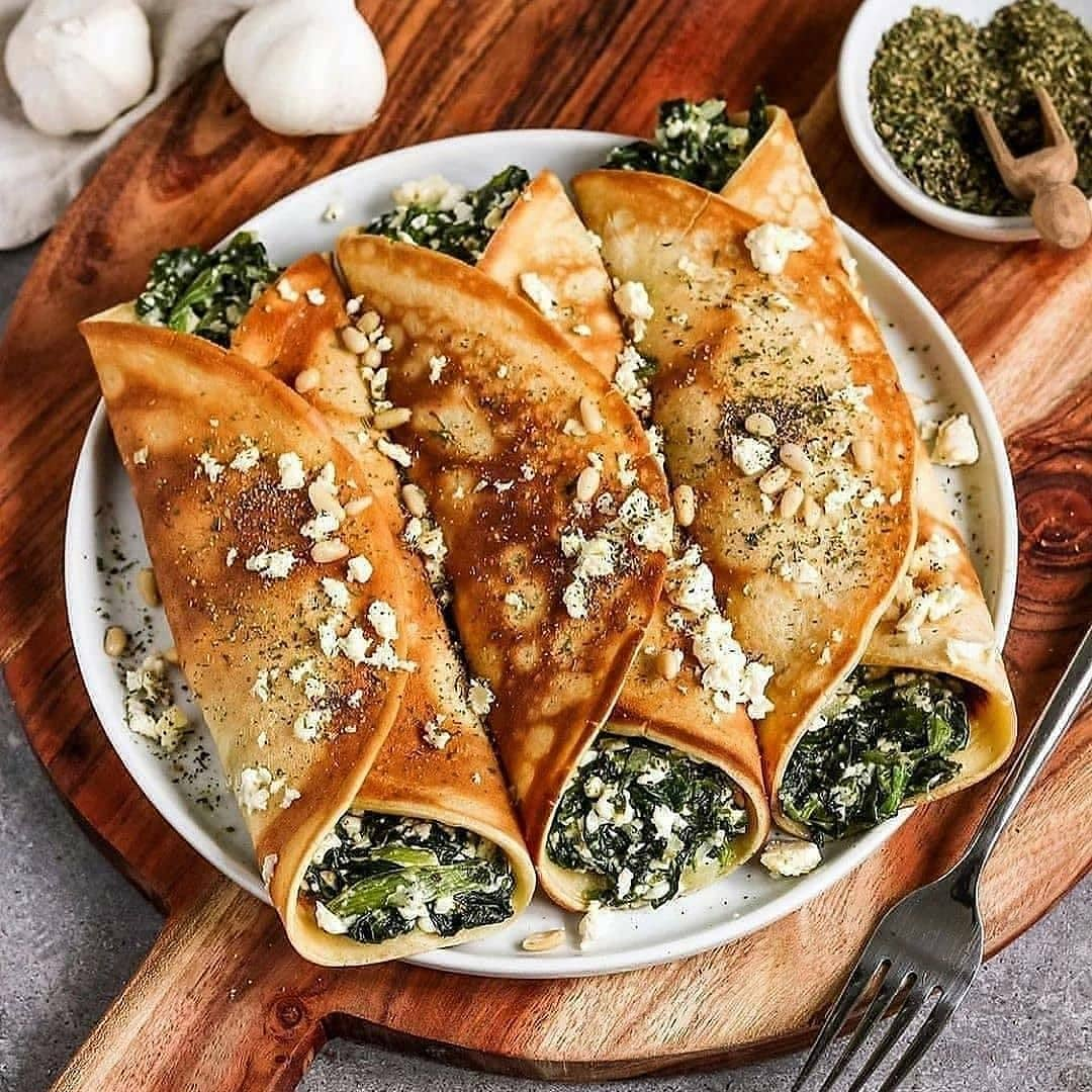 vegan oven baked filled crepes with spinach and feta by bya display image  cc9697c6