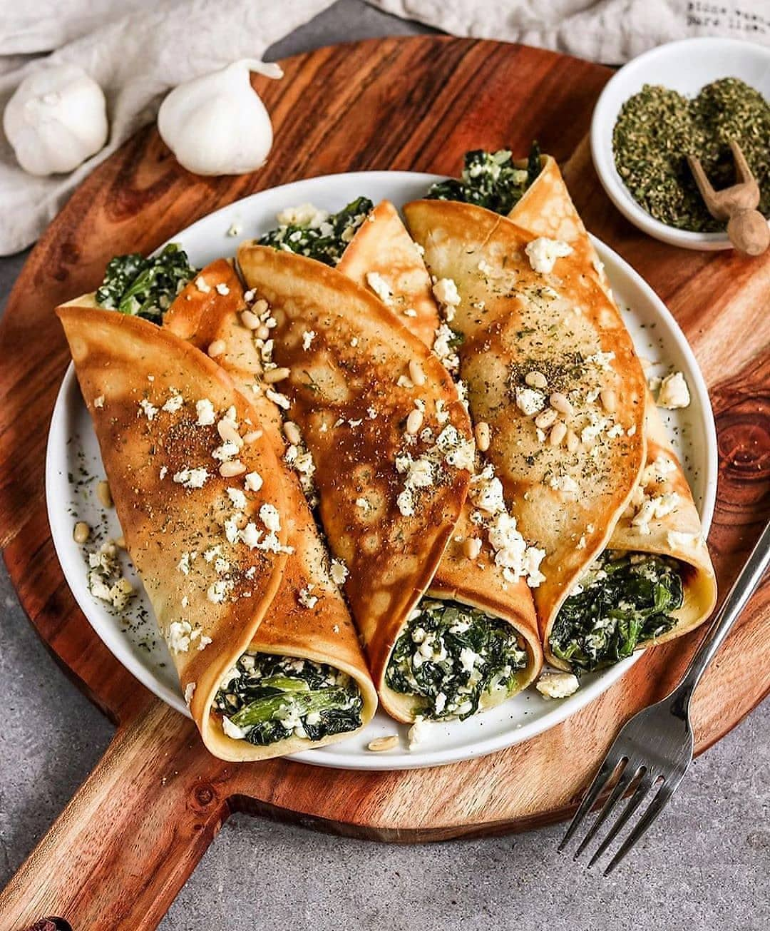 vegan oven baked filled crepes with spinach and feta by bya display image  d877f359