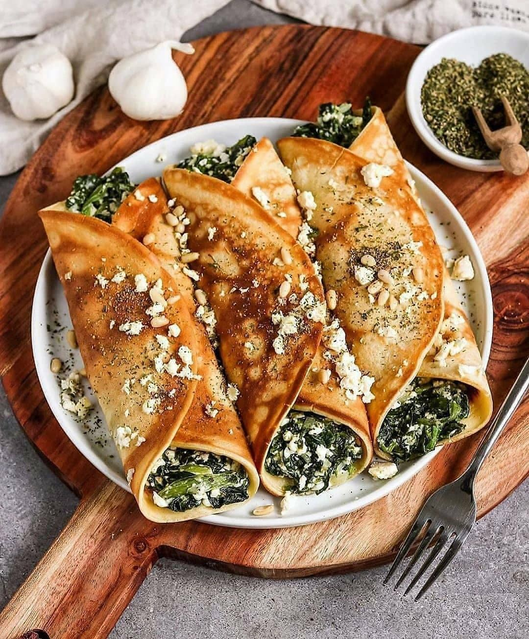 vegan oven baked filled crepes with spinach and feta by bya display image  e117110a
