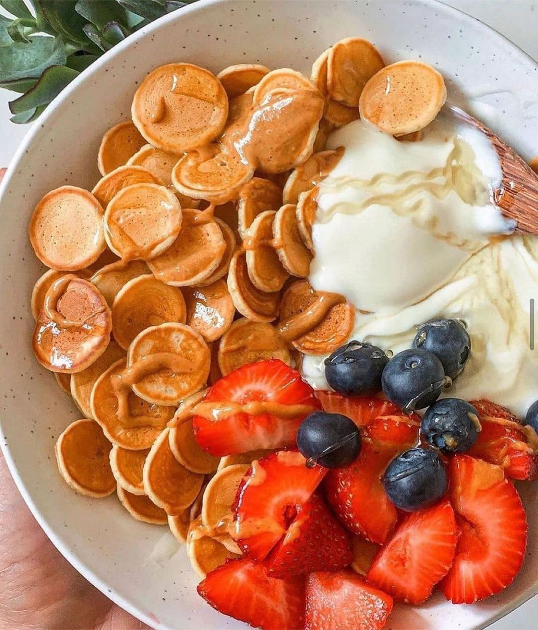 pancake cereal served with creamy dairy free coconut yoghurt display image  ea675f1e