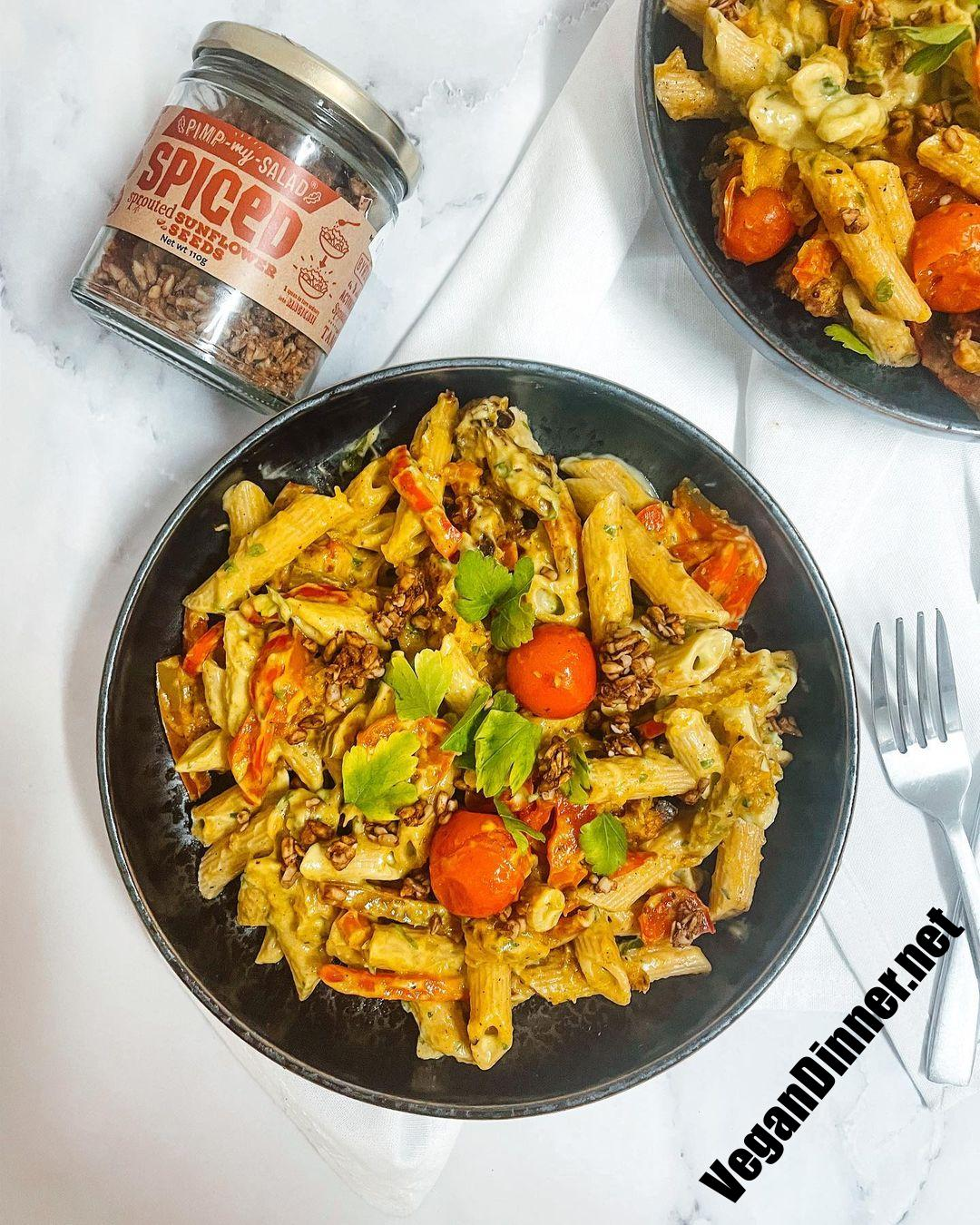 penne with avocado cream and spiced sunflower seeds multip img bdaecc