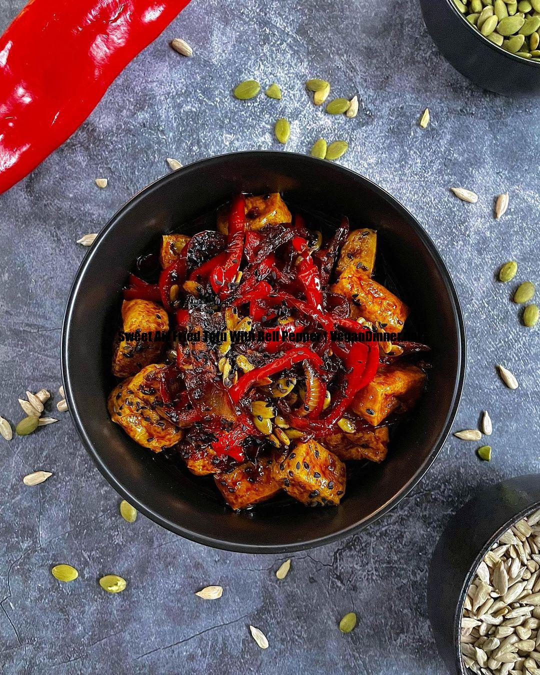 sweet air fried tofu with bell pepper display image fc