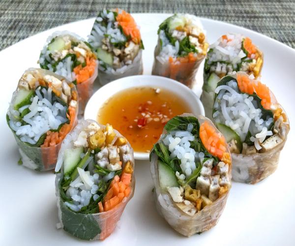 Salinda Resort vegan summer rolls