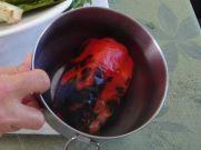 Blistered pepper before peeling
