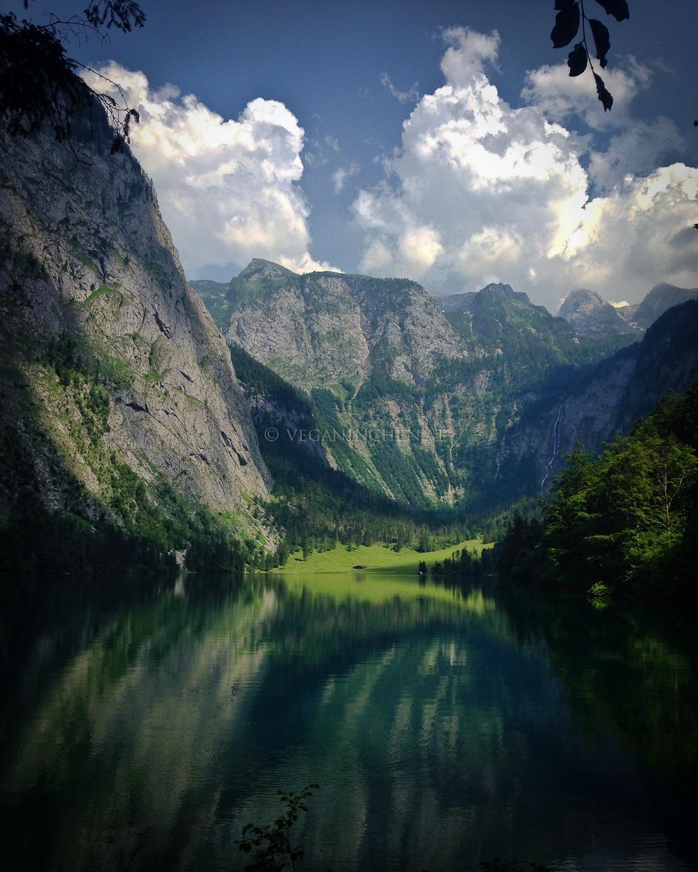 Obersee mit Fischunkelalm im Talkessel und Röthbachwasserfall im Hintergrund