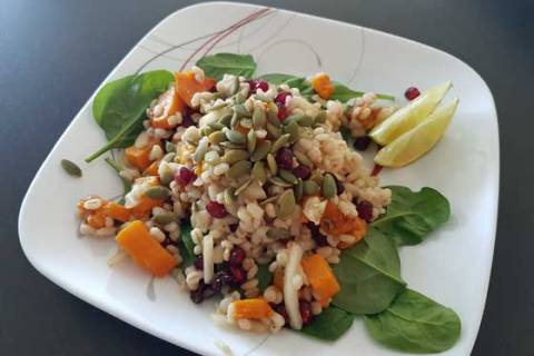 Healthy Vegan Pomegranate Barley Salad Recipe