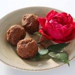 Raspberry maca vegan chocolate truffles