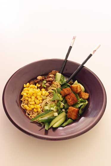 Spicy miso ramen - a big bowl of salty, satisfying vegan goodness...