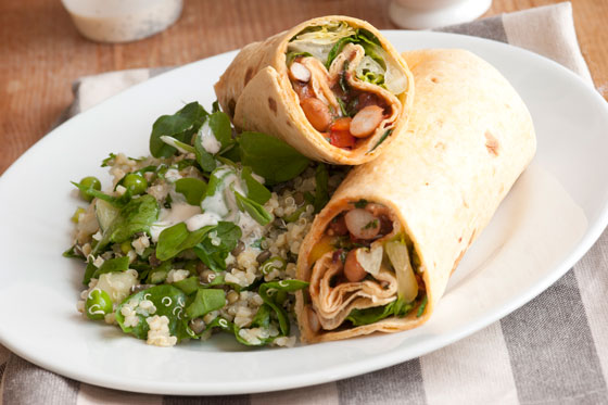 Grilled veggie wrap with quinoa salad