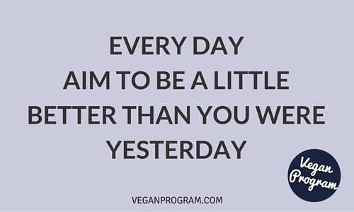 every day aim to be a little better than yesterday veganprogram