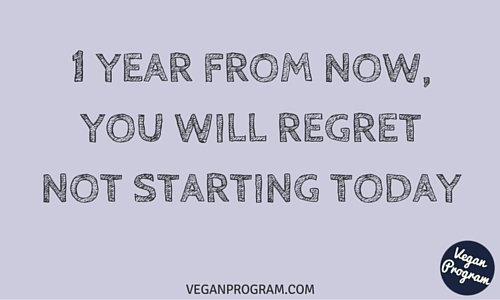1 year from now you will regret not starting today veganprogram