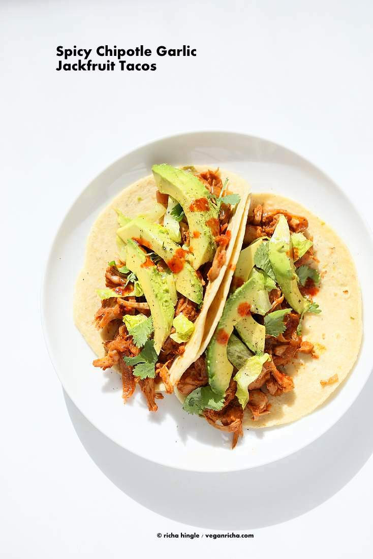 Spicy Chipotle Garlic Jackfruit Tacos - Shredded Jackfruit simmered in chipotle garlic sauce | http://VeganRicha.com #vegan #glutenfree #jackfruit #tacos