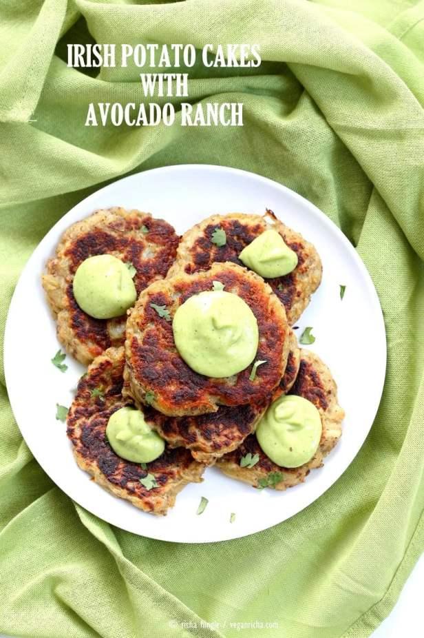 Traditional Irish potato cakes known as boxty, made eggless and vegan. Serve with avocado basil garlic ranch dressing. Vegan Soyfree Recipe | VeganRicha.com