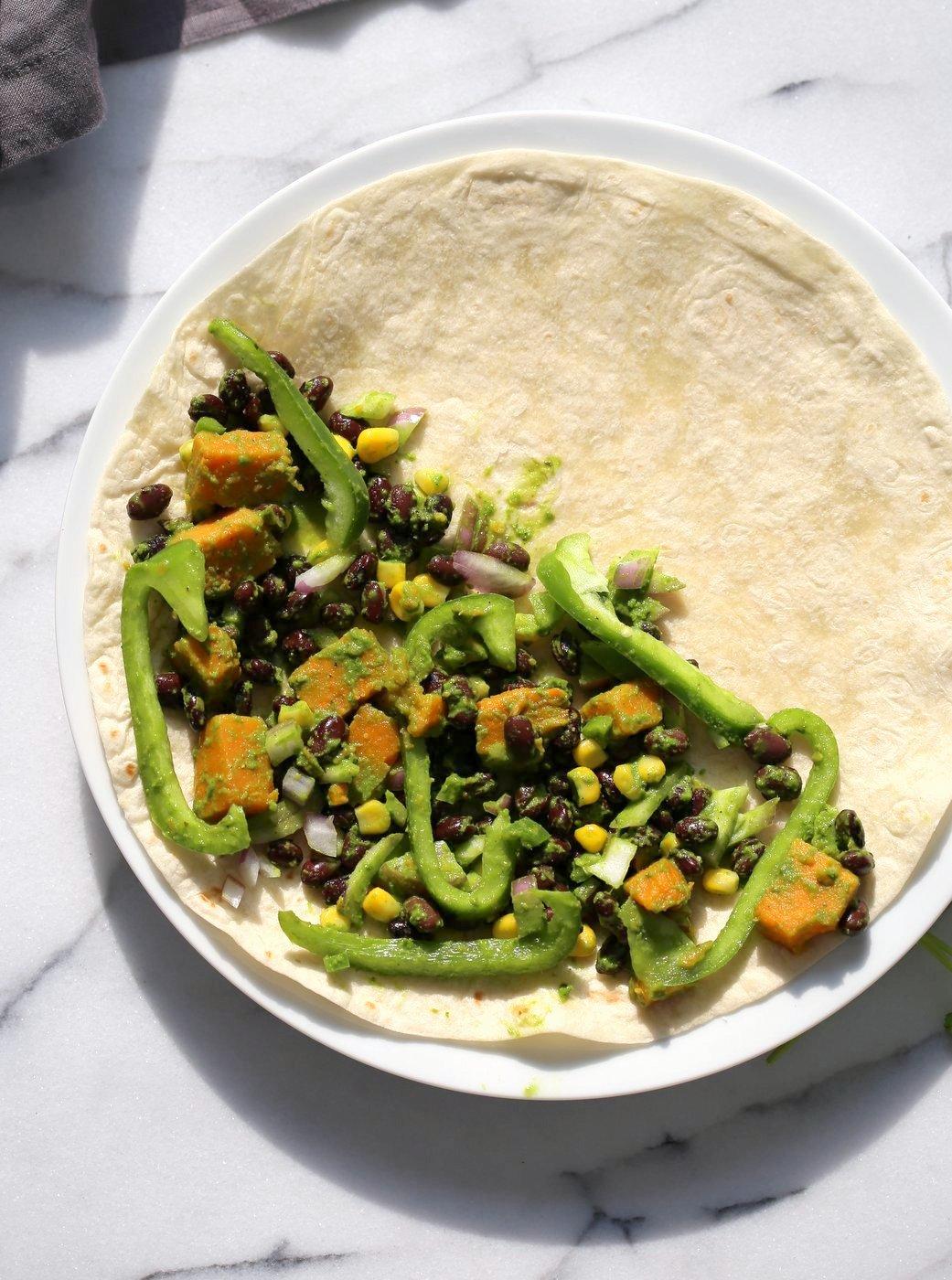 Chimichurri Sweet Potato Black Bean Quesadilla - 10 minute Grilled Quesadillas with Beans. Roasted Sweet Potatoes, Peppers and Chimichurri. #Vegan #Nutfree #Soyfree #Recipe. Can be #Glutenfree #veganricha ! VeganRicha.com