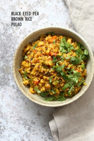 Instant Pot Black Eyed Peas Rice Pulao - Brown Rice Lobia Pulao. Black Eyes Peas and Rice cooked with spies and veggies. Saucepan option. #Vegan #Glutenfree #1Pot #Nutfree #Soyfree #instantpot #Recipe #VeganRicha | VeganRicha..com