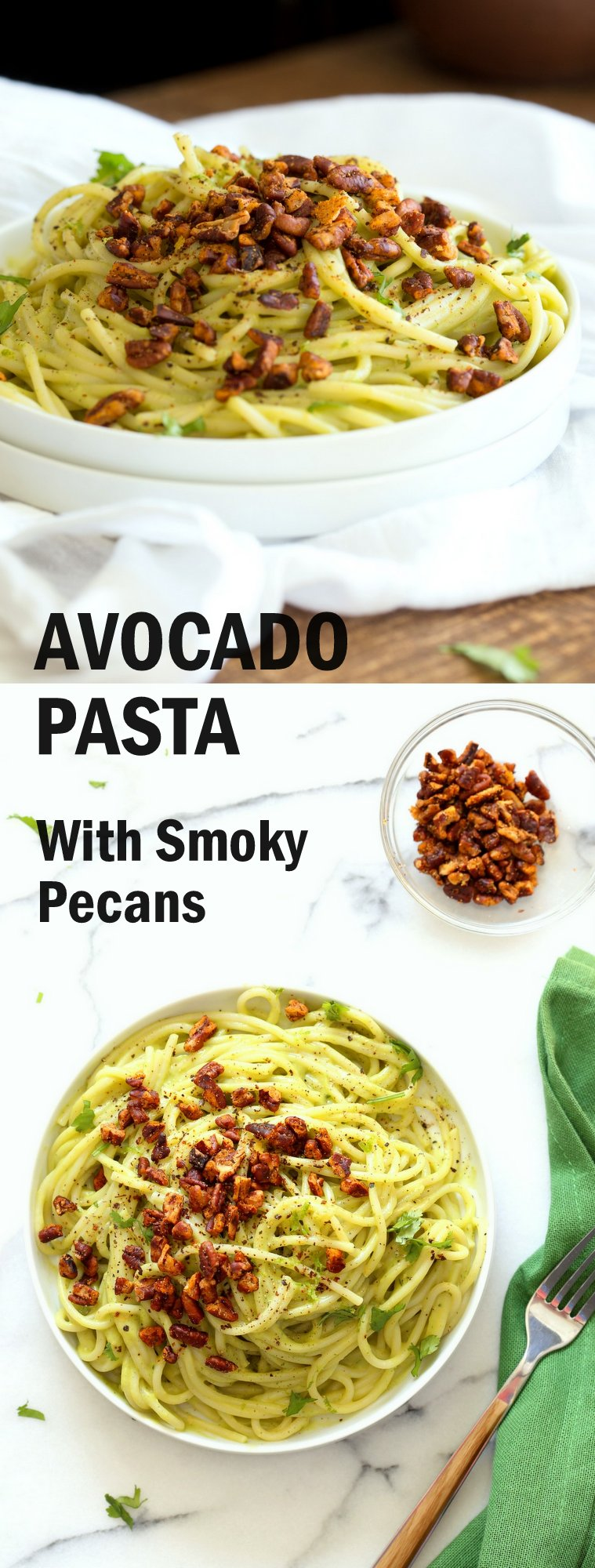 Vegan Avocado Pasta with Smoky Pecans. This 20 Minute Creamy Avocado Basil Sauce is great over spaghetti or zoodles. Serve with smoky spicy pecans for amazing flavor. #Vegan #Soyfree #Recipe. Can be #nutfree.#veganricha   VeganRicha.com