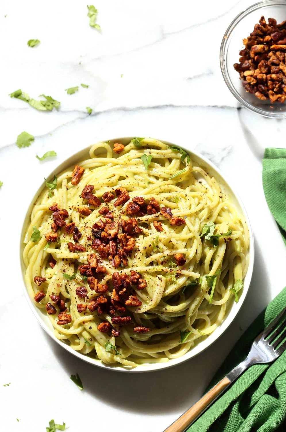 Avocado Pasta with Smoky Pecans. This 20 Minute Creamy Avocado Basil Sauce is great over spaghetti or zoodles. Serve with smoky spicy pecans for amazing flavor. #Vegan #Soyfree #Recipe. Can be #nutfree.#veganricha   VeganRicha.com