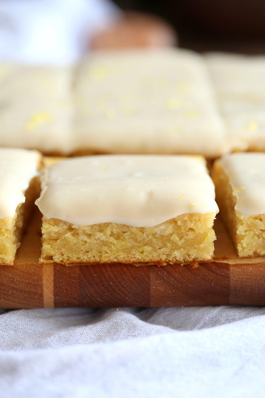 Vegan Lemon Cake with Cream Cheese Frosting. No added refined sugar in this soft and Delicious Lemon Cake! Make into cupcakes, loaf or a sheet pan cake. #Vegan #Soyfree #Recipe #lemoncake Can be nut-free #veganricha | VeganRicha.com