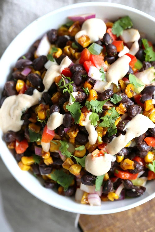 Mexican Street Corn Salad with Black Beans and Chipotle Mayo. Elote Bean Salad. Serve with Tortilla Chips. #Vegan #Glutenfree #Nutfree #soyfree #Recipe #veganricha | VeganRicha.com