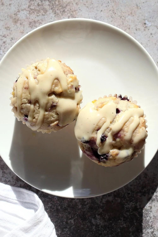 Vegan Blueberry Muffins with Cream Cheese & Pineapples. Blueberry Cheesecake Muffins! Soft, Moist, Delicious Pound Cake like Muffins. #Vegan #Soyfree #Recipe.#veganricha