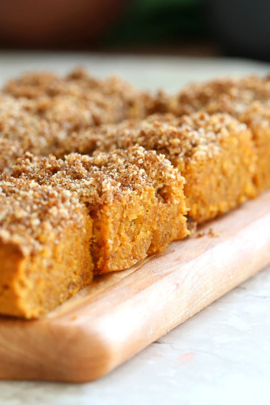 These Vegan Gluten-free Pumpkin Bars are grain-free, fudgy and so Delicious! Cinnamon streusel on top makes them decadent and festive. No added Oil, can be refined sugar free. #Vegan #Glutenfree #Soyfree #Paleo #Grainfree #Recipe #VeganRicha
