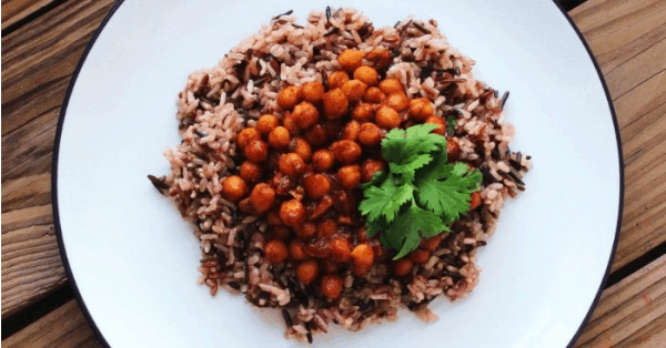 Vegan BBQ Chickpeas and Rice Recipe - an easy and healthy plant-based dinner that comes together in about 30 minutes. Use store-bought or homemade BBQ sauce. | vegan barbecue chickpeas recipe | bbq chickpeas | vegan bbq recipes | vegan barbecue recipes | easy vegan recipes | plant-based dinner ideas | vegan dinner recipes | #veganmaindishes #veganbarbecue #veganbbqrecipes #veganBBQ #easyveganrecipes