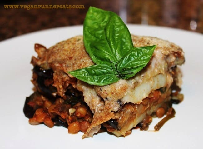 Vegan Greek Moussaka with Lentils and Potatoes
