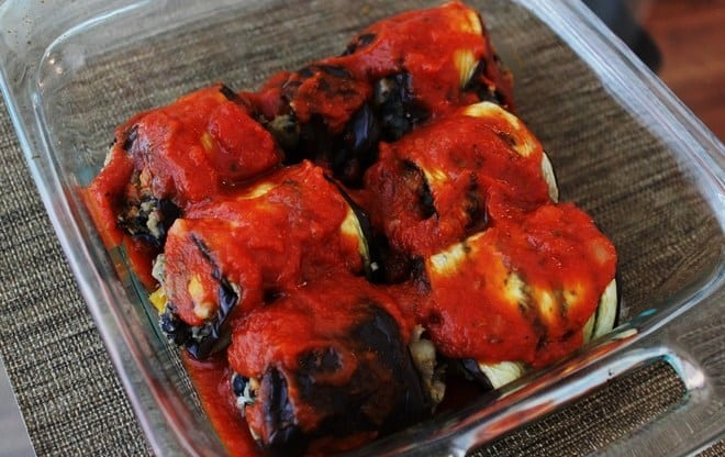 Eggplant Rollups with Black Bean-Potato Stuffing
