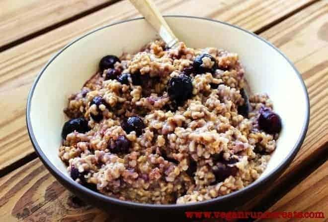Vegan Steel Cut Oatmeal with Blueberries