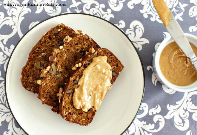Vegan pumpkin walnut bread - oil free, egg free, refined sugar free