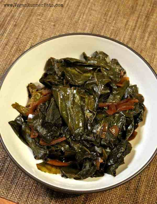 Classic Southern slow cooker vegan collard greens recipe