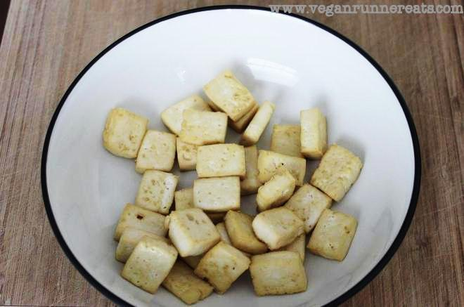 Baked tofu in a bowl