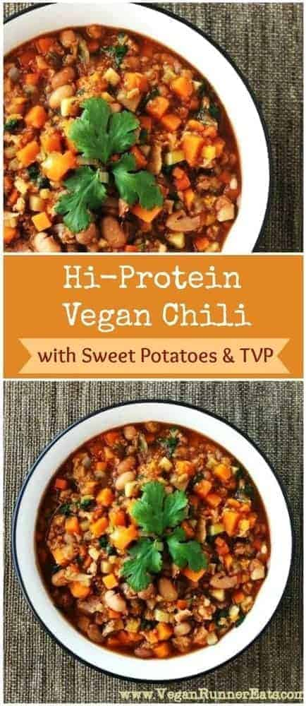 High-protein vegan chili recipe with sweet potatoes and TVP