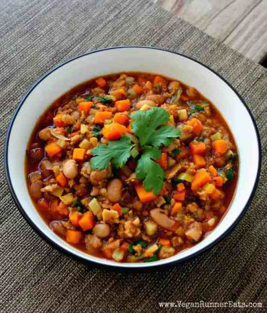 Vegan chili with sweet potatoes and TVP - high protein vegan chili recipe