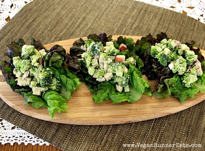 Broccoli-Apple Winter Salad 'Tacos' with Creamy Pumpkin Seed Dressing