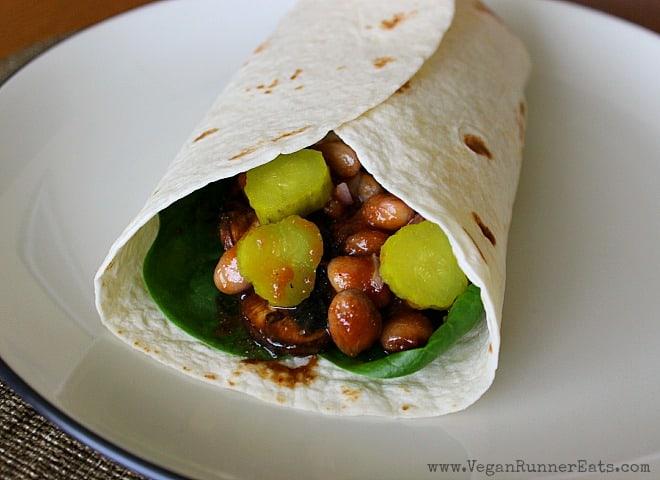 Vegan BBQ Portobello Wrap with pinto beans