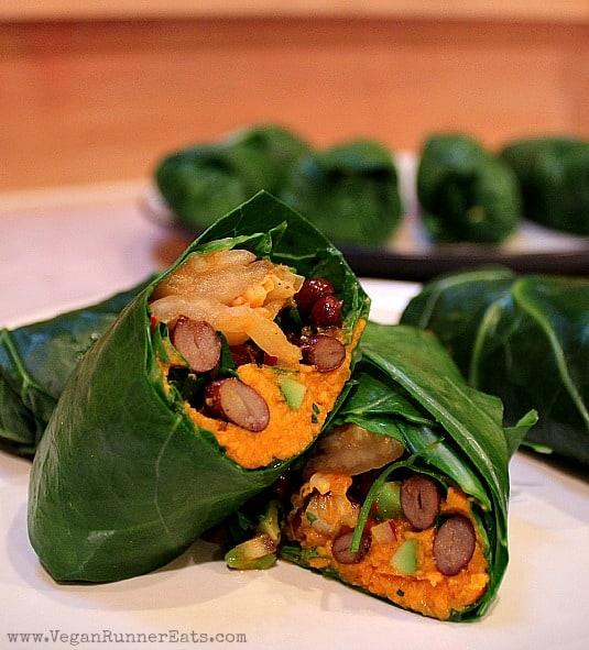 Vegan Collard Wraps with Kimchi-Sweet Potato Filling