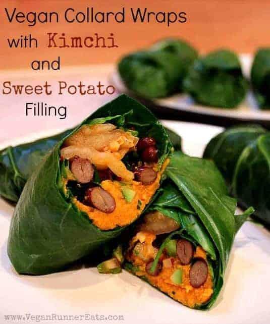 Vegan recipe collard wraps with kimchi vegan runner eats collard wraps with kimchi and sweet potato filling forumfinder Choice Image