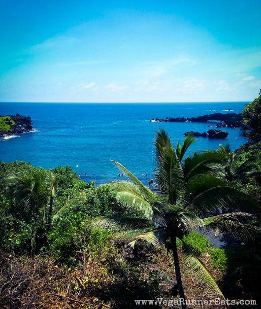 Black sand beach at Waianapanapa State Park in Maui ,Hawaii