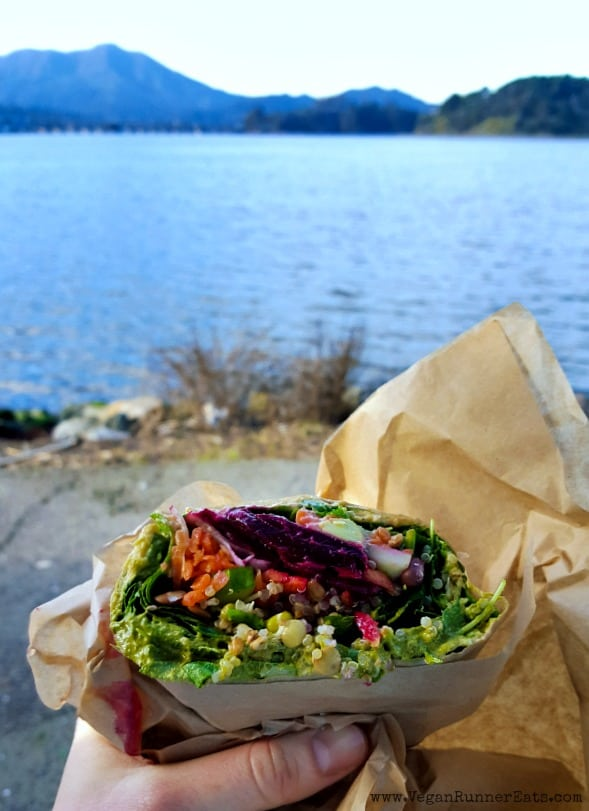 Vegan veggie wrap from Davey Jones Deli in Sausalito, CA
