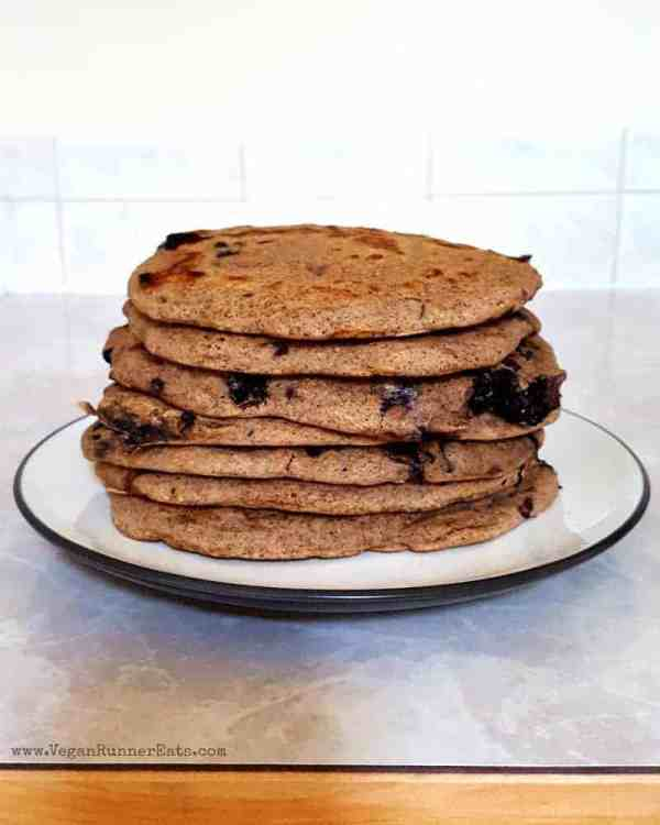 Vegan chocolate chip-blueberry pancakes recipe | plant-based pancakes recipe | egg-free pancakes | vegan breakfast recipe