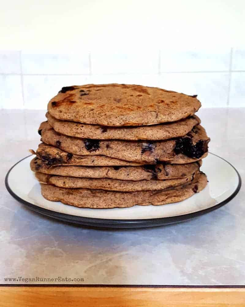 Vegan chocolate chip-blueberry pancakes recipe   plant-based pancakes recipe   egg-free pancakes   vegan breakfast recipe