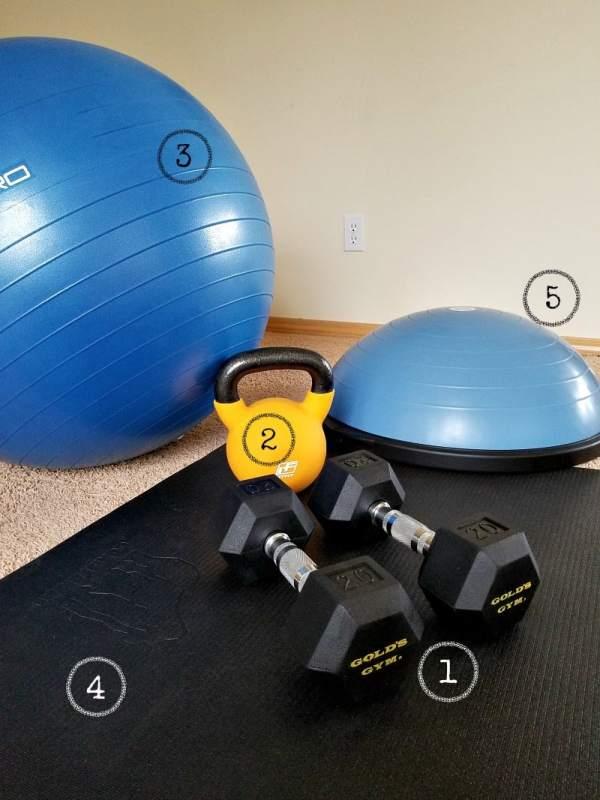 Minimal equipment for a home gym